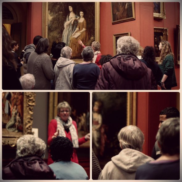 Phillipa gives some of the group a tour of the Gallery